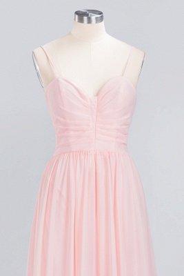 Pink Chiffon Simple Floor-length Sleeveless A-line Spaghetti-Strap Zipper Bridesmaid Dress_11
