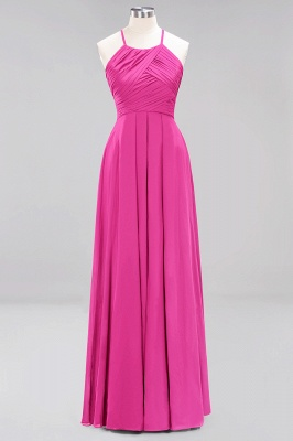A-Line  Halter Ruffles Floor-Length Bridesmaid Dress_9