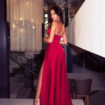Sexy V-Neck Spaghetti Straps A-Line Front Split Prom Dress_3