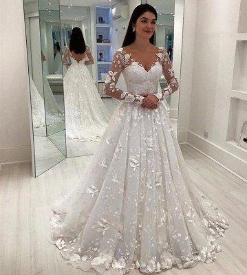 Stunning Appliques V-Neck A-Line Long Sleeves Wedding Dress_3