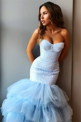 Stunning Strapless Sleeveless  High Low Prom Dress_3