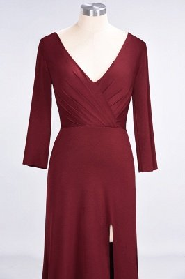 A-Line V-Neck Long-Sleeves Side-Slit Floor-Length Spandex Bridesmaid Dress with Ruffles_34