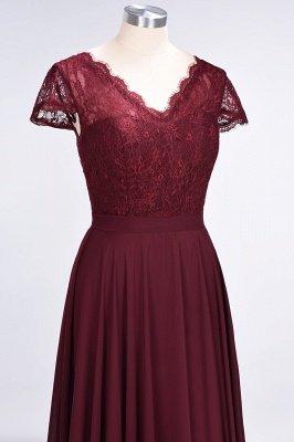 A-Line V-Neck Cap-Sleeves Floor-Length  Lace Bridesmaid Dress_5