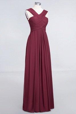 A-Line V-Neck Straps Sleeveless Floor-Length  Bridesmaid Dress with Ruffles_3