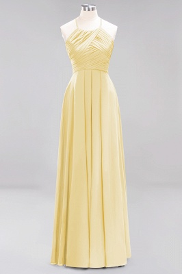 A-Line  Halter Ruffles Floor-Length Bridesmaid Dress_17