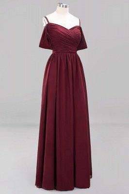 A-Line  V-Neck Spaghetti Straps Short-Sleeves Floor-Length Bridesmaid Dresses with Ruffles_11