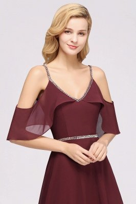 elegant A-line  V-Neck Spaghetti Straps Sleeveless Floor-Length Bridesmaid Dresses with Beading Sash_3