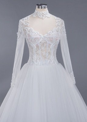 Glamorous Ball Gown High-Neck Long-Sleeves Tulle Lace Wedding Dress_4