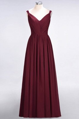 A-Line Straps V-Neck Sleeveless Backless Floor-Length  Bridesmaid Dress with Ruffles_2