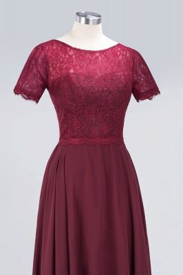 A-Line Round-Neck Short-Sleeves Floor-Length  Lace Bridesmaid Dress_5