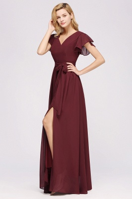 elegant A-line  V-Neck Short-Sleeves Floor-Length Bridesmaid Dresses with Bow Sash_5