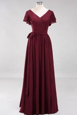 elegant A-line  V-Neck Short-Sleeves Floor-Length Bridesmaid Dresses with Bow Sash_10