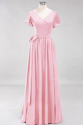 elegant A-line  V-Neck Short-Sleeves Floor-Length Bridesmaid Dresses with Bow Sash_4