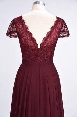 A-Line V-Neck Cap-Sleeves Floor-Length  Lace Bridesmaid Dress_6