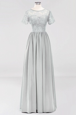 A-line  Lace Jewel Short-Sleeves Floor-length Bridesmaid Dress_29