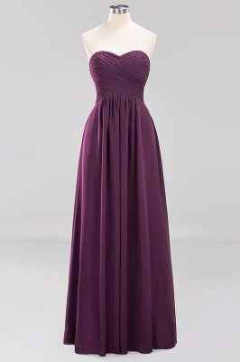 A-line  Sweetheart Strapless Ruffles Floor-length Bridesmaid Dress_19