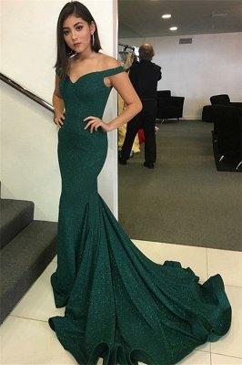 Charming Off-the-Shoulder V-Neck Sleeveless Mermaid Floor-Length Prom Dress_1