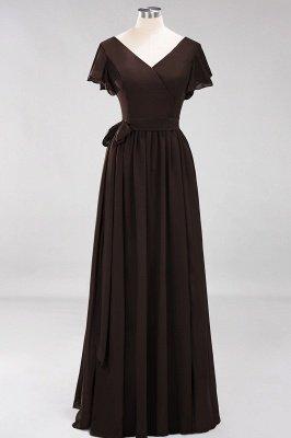 elegant A-line  V-Neck Short-Sleeves Floor-Length Bridesmaid Dresses with Bow Sash_11