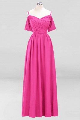 A-Line  V-Neck Spaghetti Straps Short-Sleeves Floor-Length Bridesmaid Dresses with Ruffles_1