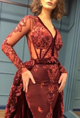 2019 Sparkle Beads Burgundy Long Sleeves Prom Dresses with Appliques BC0731_3