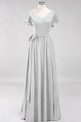 elegant A-line  V-Neck Short-Sleeves Floor-Length Bridesmaid Dresses with Bow Sash_29