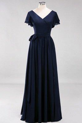 elegant A-line  V-Neck Short-Sleeves Floor-Length Bridesmaid Dresses with Bow Sash_27