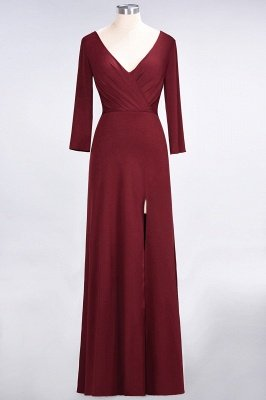 A-Line V-Neck Long-Sleeves Side-Slit Floor-Length Spandex Bridesmaid Dress with Ruffles_31