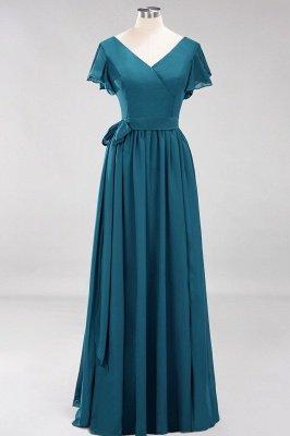 elegant A-line  V-Neck Short-Sleeves Floor-Length Bridesmaid Dresses with Bow Sash_26