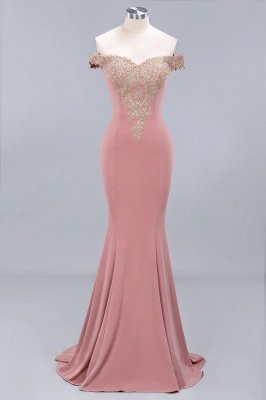 Charming Off-The-Shoulder Floor-Length  Mermaid Appliques Zipper Prom Dress_1