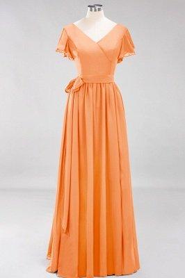 elegant A-line  V-Neck Short-Sleeves Floor-Length Bridesmaid Dresses with Bow Sash_15