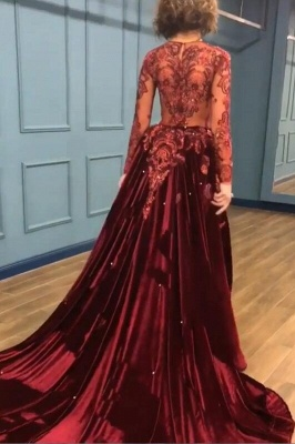 2019 Sparkle Beads Burgundy Long Sleeves Prom Dresses with Appliques BC0731_1