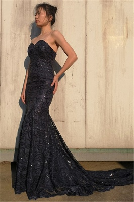 Elegant Sweetheart Appliques Sleeveless Black Mermaid Prom Dress_3