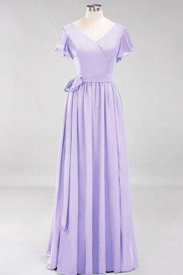 elegant A-line  V-Neck Short-Sleeves Floor-Length Bridesmaid Dresses with Bow Sash_20