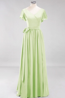 elegant A-line  V-Neck Short-Sleeves Floor-Length Bridesmaid Dresses with Bow Sash_33