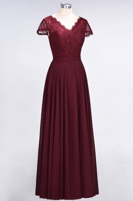 A-Line V-Neck Cap-Sleeves Floor-Length  Lace Bridesmaid Dress_3