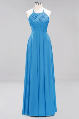 A-Line  Halter Ruffles Floor-Length Bridesmaid Dress_24