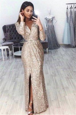 Sexy V-Neck Long Sleeves Front Slipt Mermaid Prom Dress BC0815_1