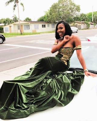 Stunning Mermaid Off-the-Shoulder Appliques Zipper Sweep-Train Prom Dresses_3