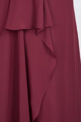 A-Line Halter V-Neck Sleeveless Floor-Length  Bridesmaid Dress with Ruffle_7
