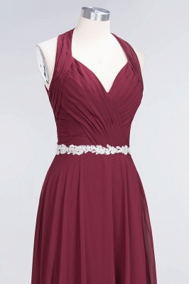 A-Line Halter V-Neck Sleeveless Ruffle Floor-Length  Bridesmaid Dress with Appliques Sashes_4