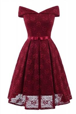 Retro Lace Off-the-shoudler Dress Elegant Cocktail Party Cap Sleeve A Line Vintage Dress_3