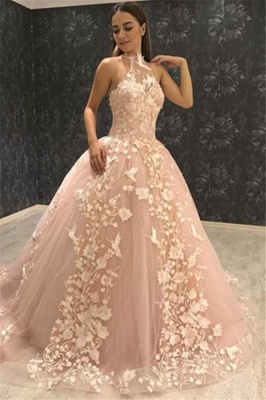 Stunning Ball Gown Halter Sleeveless  Appliques Prom Dresses_1