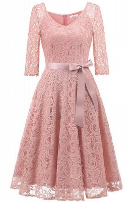 Multi-color A-line Holiday Guipure lace Round Neck Midi Lace Dresses_2