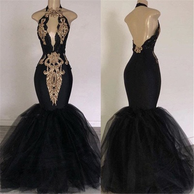 Sexy Backless Prom Dresses Cheap with Gold Appliques | Mermaid Halter Evening Gowns with Keyhole_3