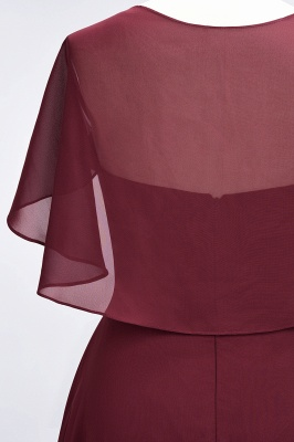 A-Line V-Neck short-sleeves Floor-Length Satin Bridesmaid Dress_7
