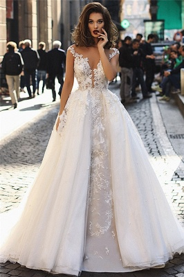 Beautiful Ball Gown Tulle Cap-Sleeves V-Neck Appliques Wedding Dresses