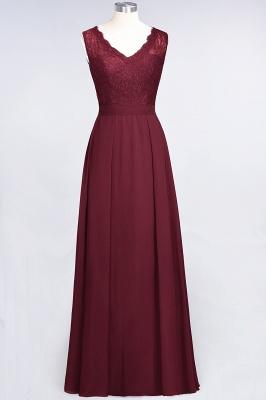 A-Line V-Neck Sleeveless Floor-Length  Lace Bridesmaid Dress_2