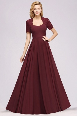 A-Line Chiffon Bridesmaid Dresses | Sweetheart Cap Sleeves Lace Wedding Party Dresses_28