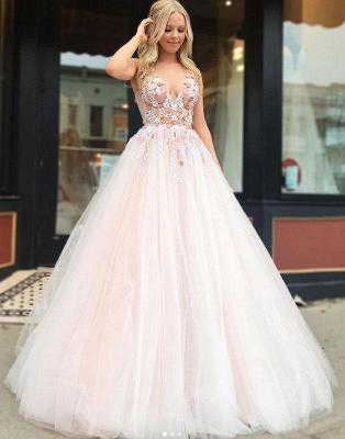 Elegant A-Line Straps V-Neck Sleeveless Beading Appliques Floor-Length Prom Dresses_3