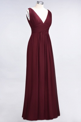 A-Line V-Neck Sleeveless Floor-Length  Bridesmaid Dress with Ruffle_4